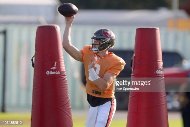 Kyle Trask goes thru drills during the Tampa Bay Buccaneers Training Camp on August 01, 2021 at the AdventHealth Training Center at One Buccaneer...