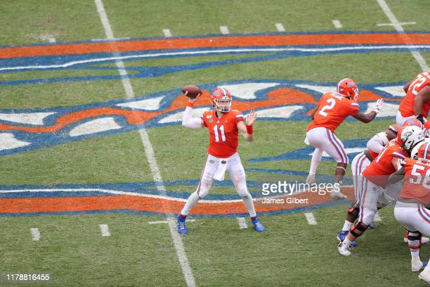 Kyle Trask of the Florida Gators throws a pass during the third quarter of a game against the Towson Tigers at Ben Hill Griffin Stadium on September...