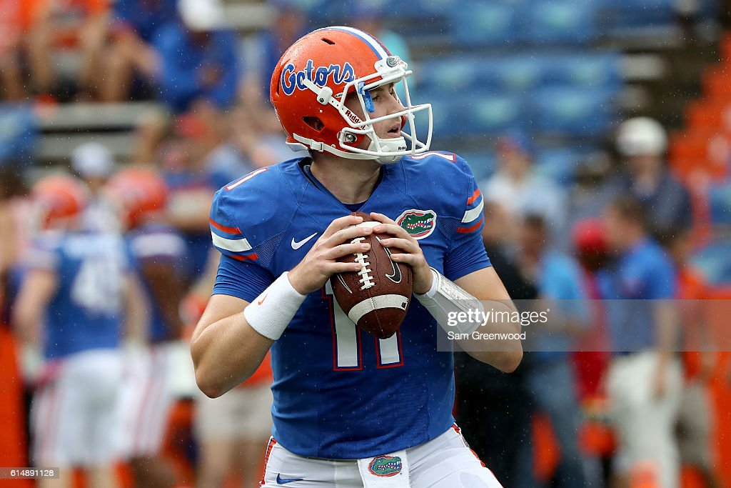 Kyle Trask #11 of the Florida Gators warms up before the game against the Missouri Tigers at Ben Hill Griffin Stadium on October 15, 2016 in Gainesville, Florida.