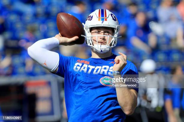 Kyle Trask of the Florida Gators warms up prior to the game against the Vanderbilt Commodores at Ben Hill Griffin Stadium on November 09, 2019 in...