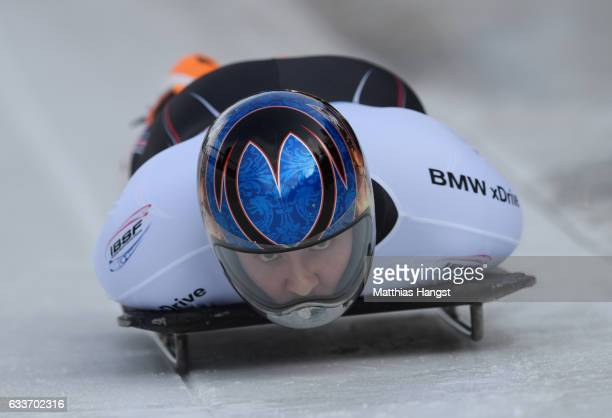 Kyle Tress of the United States competes during the Men's Skeleton first run of the BMW IBSF World Cup at Olympiabobbahn Igls on February 3 2017 in...