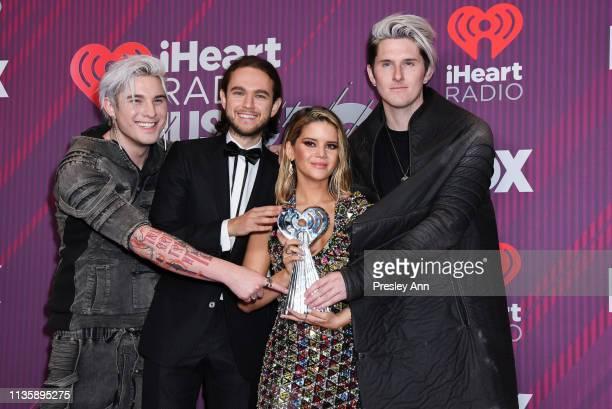 Kyle Trewartha Zedd Maren Morris and Michael Trewartha attend 2019 iHeartRadio Music Awards press room during the 2019 iHeartRadio Music Awards which...