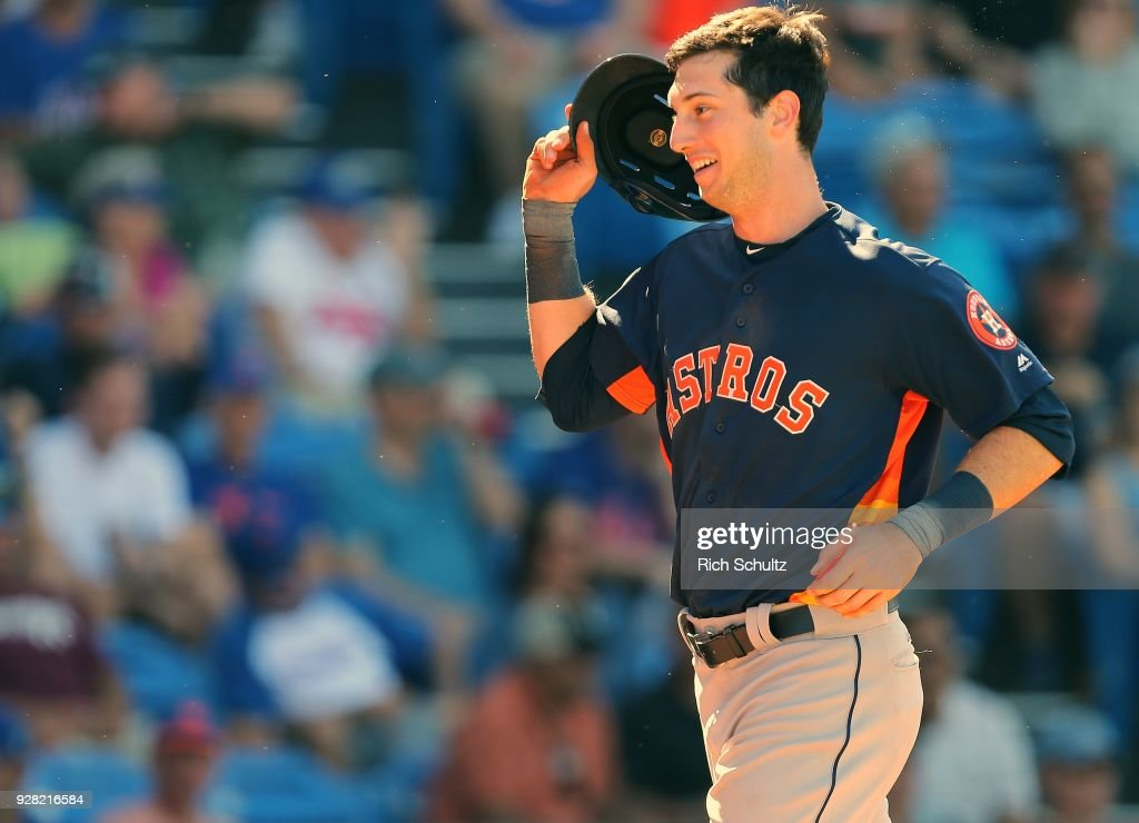 Kyle Tucker #79 of the Houston Astros reacts after hitting a home run against the New York Mets during the seventh inning of a spring training game at First Data Field on March 6, 2018 in Port St. Lucie, Florida. The Mets defeated the Astros 9-5.