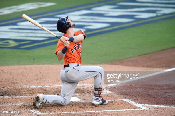 Kyle Tucker of the Houston Astros watches a pop fly out against the Tampa Bay Rays during the fourth inning in Game Six of the American League...