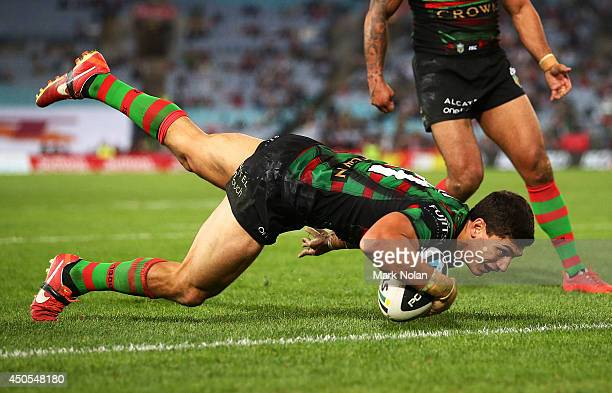 Kyle Turner of the Rabbitohs scores his second try during the round 14 NRL match between the South Sydney Rabbitohs and the Wests Tigers at ANZ...