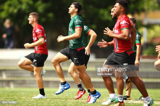 Kyle Turner runs during a South Sydney Rabbitohs NRL Training Session at Redfern Oval on March 20 2018 in Sydney Australia