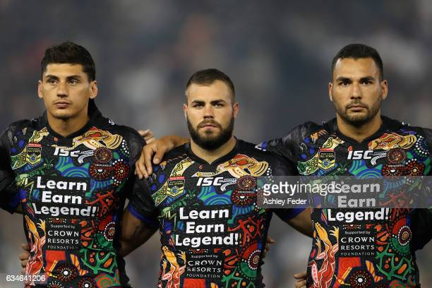 Kyle Turner Wade Graham and Ryan James of Indigenous All Stars line up during the NRL All Stars match between the 2017 Harvey Norman All Stars and...