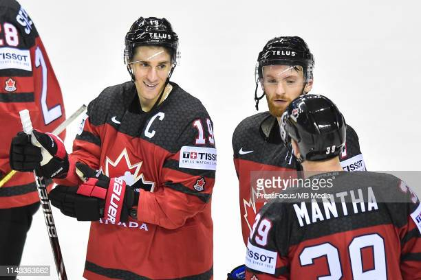 Kyle Turris of Canada Sean Couturier of Canada and Anthony Mantha of Canada talk after the 2019 IIHF Ice Hockey World Championship Slovakia group A...