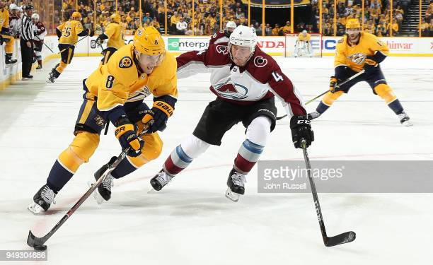 Kyle Turris of the Nashville Predators skates against Tyson Barrie of the Colorado Avalanche in Game Five of the Western Conference First Round...