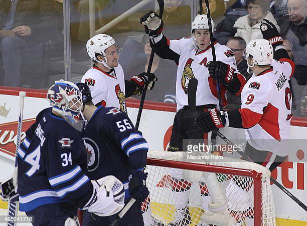 Kyle Turris of the Ottawa Senators celebrates his goal against the Winnipeg Jets in firstperiod action in an NHL game at the MTS Centre on March 4...