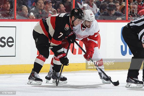 Kyle Turris of the Ottawa Senators prepares for a faceoff against Brian Lashoff of the Detroit Red Wings during an NHL game at Canadian Tire Centre...