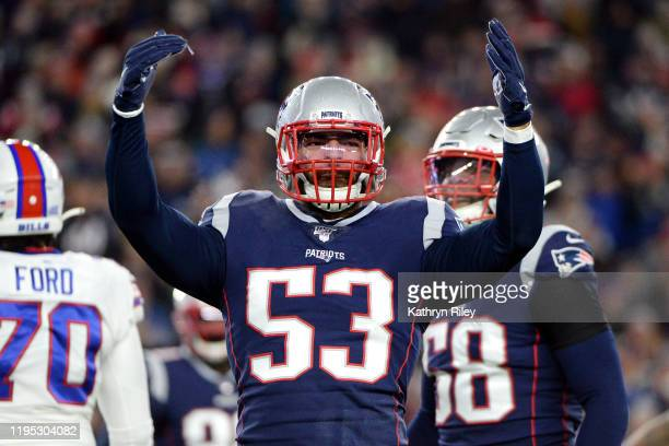 Kyle Van Noy of the New England Patriots celebrates during the first half against the Buffalo Bills in the game at Gillette Stadium on December 21,...