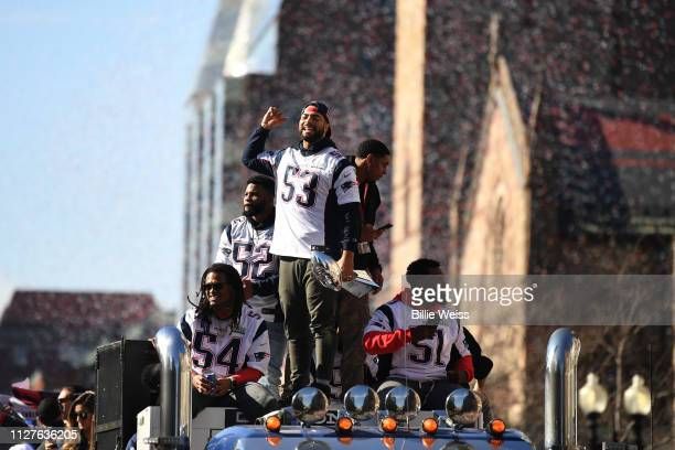 Kyle Van Noy of the New England Patriots celebrates during the Super Bowl Victory Parade on February 05, 2019 in Boston, Massachusetts.