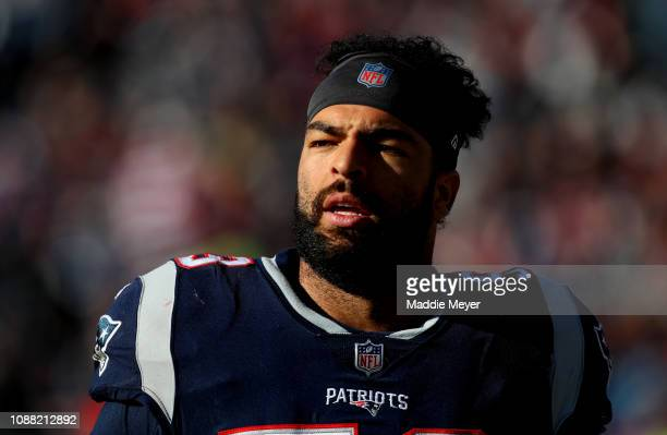 Kyle Van Noy of the New England Patriots looks on during a game against the New York Jets at Gillette Stadium on December 30, 2018 in Foxborough,...