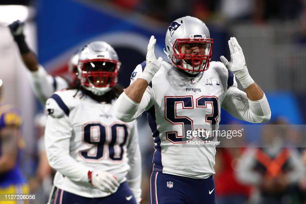 Kyle Van Noy of the New England Patriots reacts after a tackle in the second quarter against the Los Angeles Rams during Super Bowl LIII at...