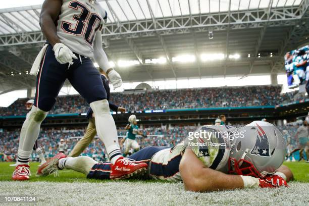 Kyle Van Noy of the New England Patriots reacts after the loss to the Miami Dolphins at Hard Rock Stadium on December 9 2018 in Miami Florida