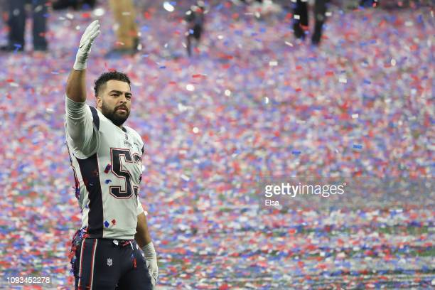 Kyle Van Noy of the New England Patriots reacts after the Patriots defeat the Los Angeles Rams 13-3 during Super Bowl LIII at Mercedes-Benz Stadium...
