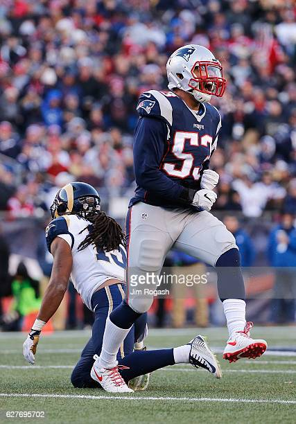 Kyle Van Noy of the New England Patriots reacts during the second half against the Los Angeles Rams at Gillette Stadium on December 4, 2016 in...