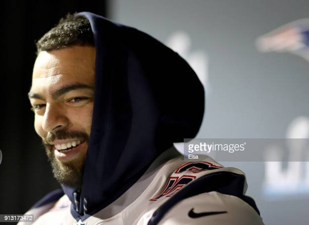 Kyle Van Noy of the New England Patriots speaks to the press during the New England Patriots Media Availability for Super Bowl LII at the Mall of...