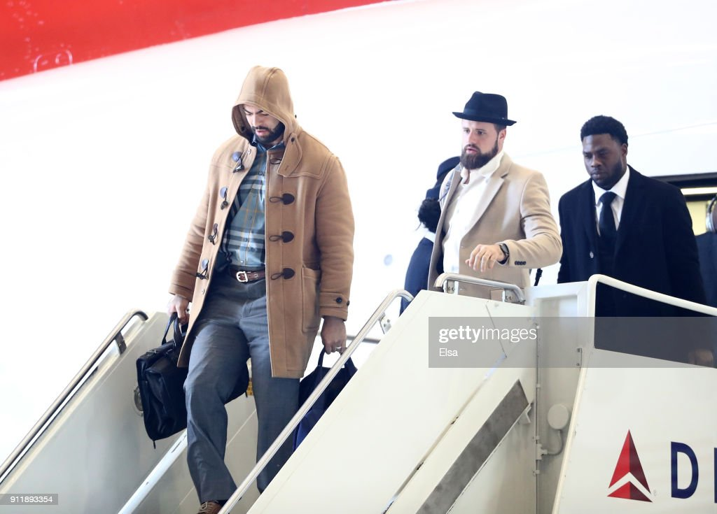 Kyle Van Noy #53,James Develin #46 and Dwayne Allen #83 of the New England Patriots arrive for Super Bowl LII on January 29, 2018 at the Minneapolis-St. Paul International Airport in Minneapolis,Minnesota.