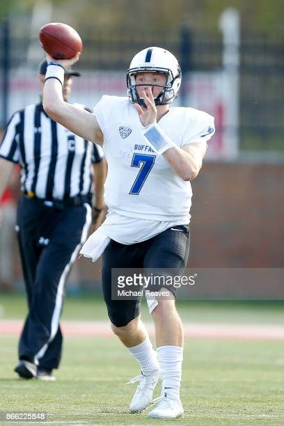 Kyle Vantrease of the Buffalo Bulls throws a pass against the Miami Ohio Redhawks at Yager Stadium on October 21 2017 in Oxford Ohio