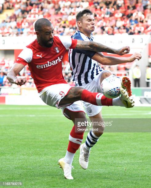 Kyle Vassell of Rotherham United battles with Conor Townsend of West Bromwich Albion during the Pre-Season Friendly between Rotherham United and West...