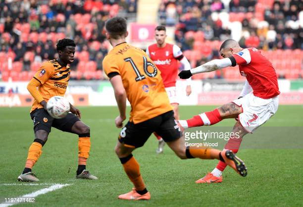 Kyle Vassell of Rotherham United scores his team's second goal during the FA Cup Third Round match between Rotherham United and Hull City at The New...