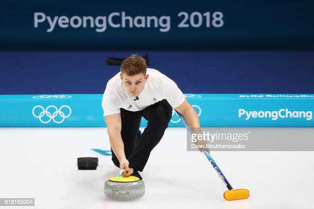 Kyle Waddell of Great Britain compete in the Curling Men's Round Robin Session 1 held at Gangneung Curling Centre on February 14 2018 in Gangneung...