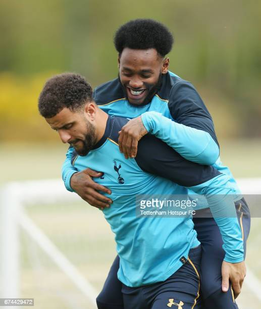 Kyle Walker and Georges-Kévin N'Koudou of Tottenham during the Tottenham Hotspur training session at Tottenham Hotspur Training Centre on April 28,...