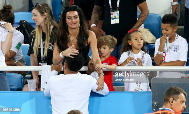 Kyle Walker and girlfriend Annie Kilner following the 2018 FIFA World Cup Russia group G match between England and Belgium at Kaliningrad Stadium on...