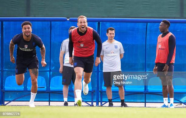 Kyle Walker and Harry Kane of England enjoy a training session during the England Media Access at on June 17 2018 in Saint Petersburg Russia