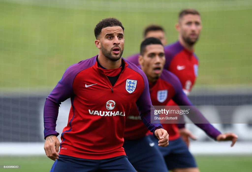 Kyle Walker and team mates await a delivery during a England training session ahead of their World Cup Qualifiers against Malta and Slovakia at St Georges Park on August 29, 2017 in Burton-upon-Trent, England.