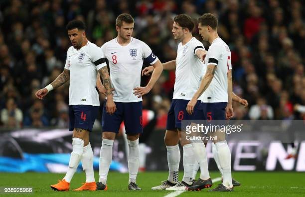 Kyle Walker Eric Dier James Tarkowski and John Stones of England during the International Friendly match between England and Italy at Wembley Stadium...