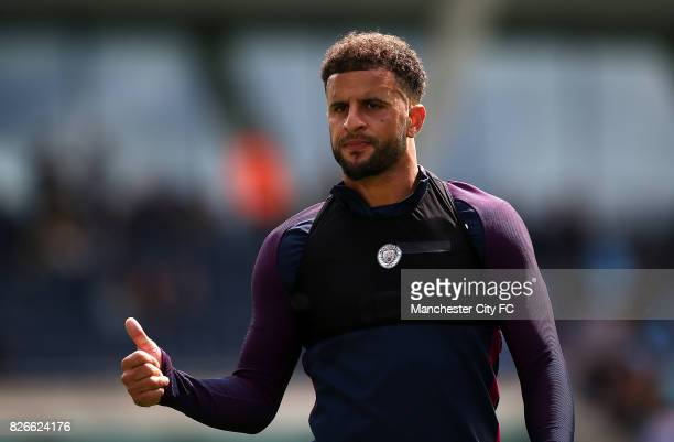 Kyle Walker looks on in training during the Cityzens Saturday at Etihad Stadium on August 5 2017 in Manchester England