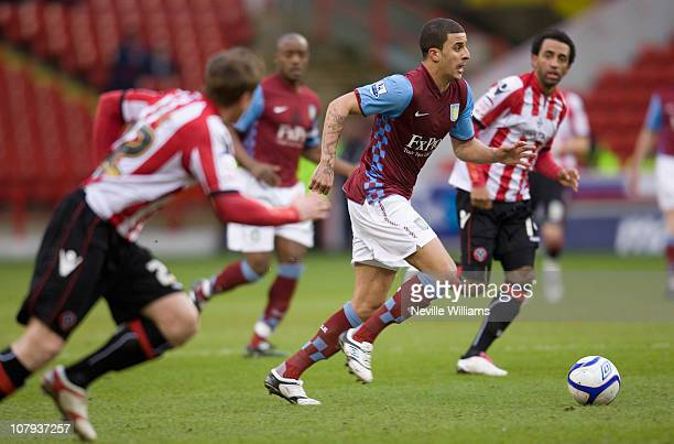 Kyle Walker of Aston Villa goes for the ball during the FA Cup Sponsored by EON 3rd round match between Sheffield United and Aston Villa at Bramall...