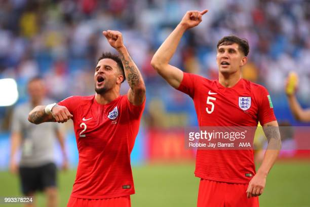 Kyle Walker of England and John Stones of England celebrate at the end of the 2018 FIFA World Cup Russia Quarter Final match between Sweden and...