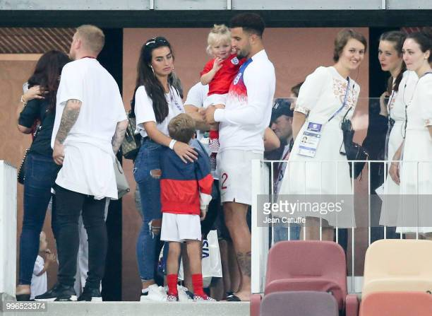 Kyle Walker of England and wife Annie Kilner following the 2018 FIFA World Cup Russia Semi Final match between England and Croatia at Luzhniki...