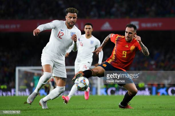 Kyle Walker of England battles for the ball with Paco Alcacer of Spain during the UEFA Nations League A group four match between Spain and England at...