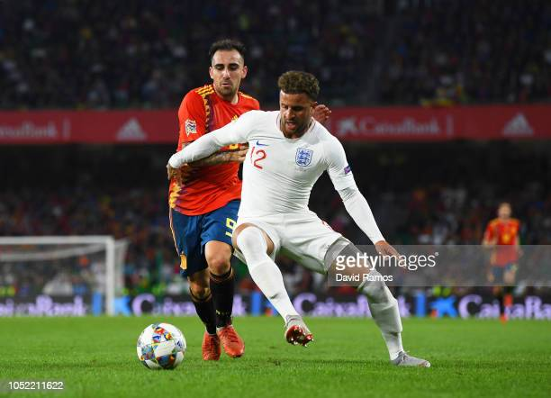 Kyle Walker of England battles with Paco Alcacer of Spain during the UEFA Nations League A Group Four match between Spain and England at Estadio...