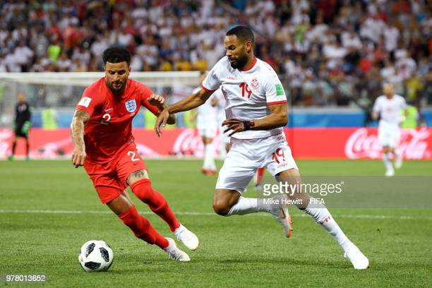 Kyle Walker of England challenge for the ball with Saber Khalifa of Tunisia during the 2018 FIFA World Cup Russia group G match between Tunisia and...