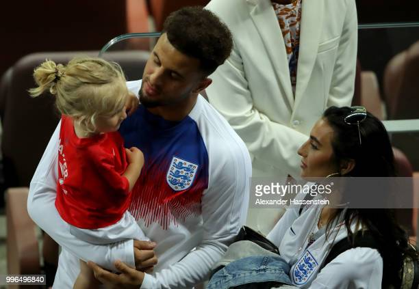 Kyle Walker of England chat with his wife Annie Kilner and his daughter following the 2018 FIFA World Cup Russia Semi Final match between England and...