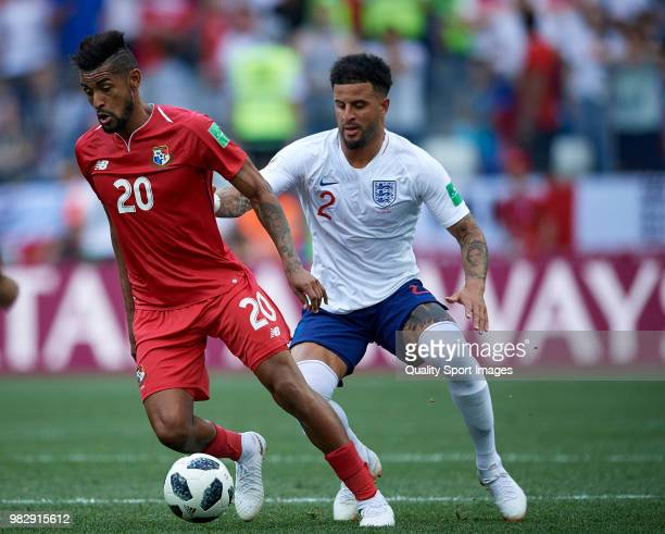 Kyle Walker of England competes for the ball with Anibal Godoy of Panama during the 2018 FIFA World Cup Russia group G match between England and...