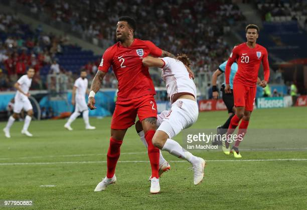 Kyle Walker of England concedes a penalty during the 2018 FIFA World Cup Russia group G match between Tunisia and England at Volgograd Arena on June...