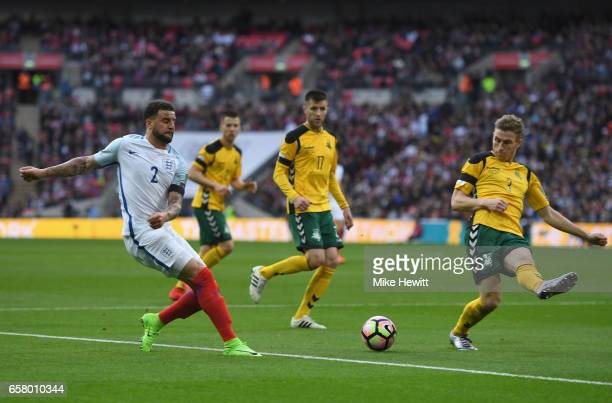Kyle Walker of England crosses the ball during the FIFA 2018 World Cup Qualifier between England and Lithuania at Wembley Stadium on March 26 2017 in...