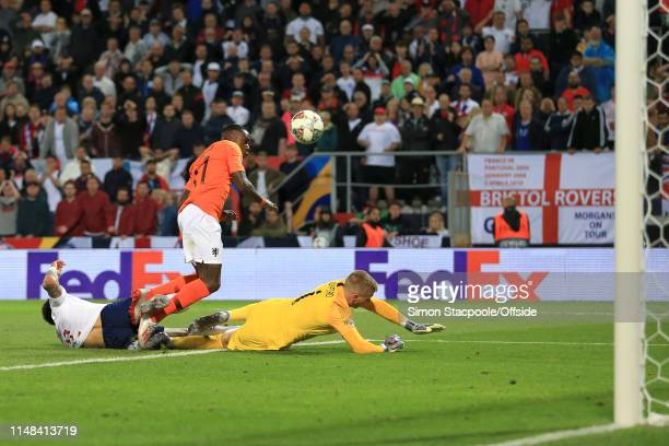 Kyle Walker of England deflects the shot of Quincy Promes of Netherlands to score an own goal and bring the score to 21 in extra time during the UEFA...