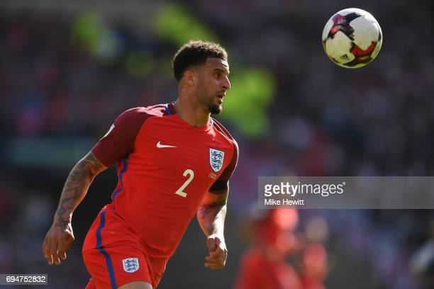 Kyle Walker of England in action during the FIFA 2018 World Cup Qualifier between Scotland and England at Hampden Park National Stadium on June 10...