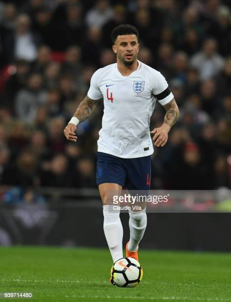 Kyle Walker of England in action during the friendly match between England and Italy at Wembley Stadium on March 27 2018 in London England