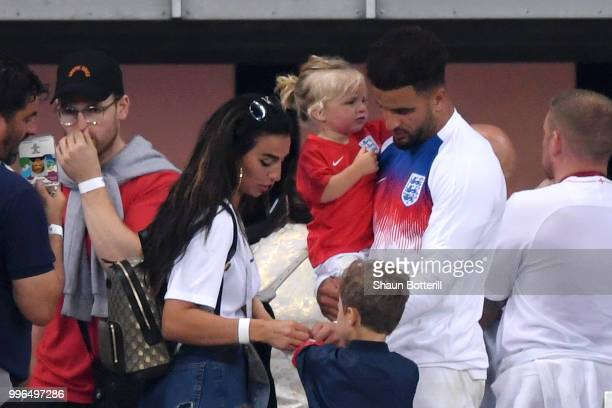 Kyle Walker of England is consoled by his family following England's defeat in the 2018 FIFA World Cup Russia Semi Final match between England and...