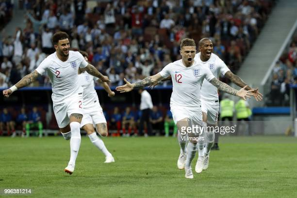 Kyle Walker of England Kieran Trippier of England Ashley Young of England during the 2018 FIFA World Cup Russia Semi Final match between Croatia and...