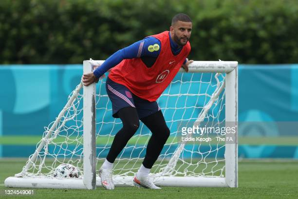 Kyle Walker of England looks on during the England Training Session at Tottenham Hotspur Training Ground on June 20, 2021 in Burton upon Trent,...
